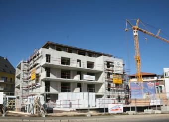 Vue du bâtiment en cours de construction