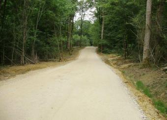 Création chemin forestier par stabilisation au liant routier