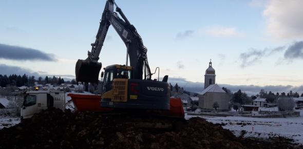 Début des travaux de terrassement de la voirie